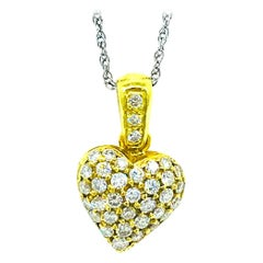 Contemporary, Pave 1 Carat Diamond Heart, 18 Karat Pendant