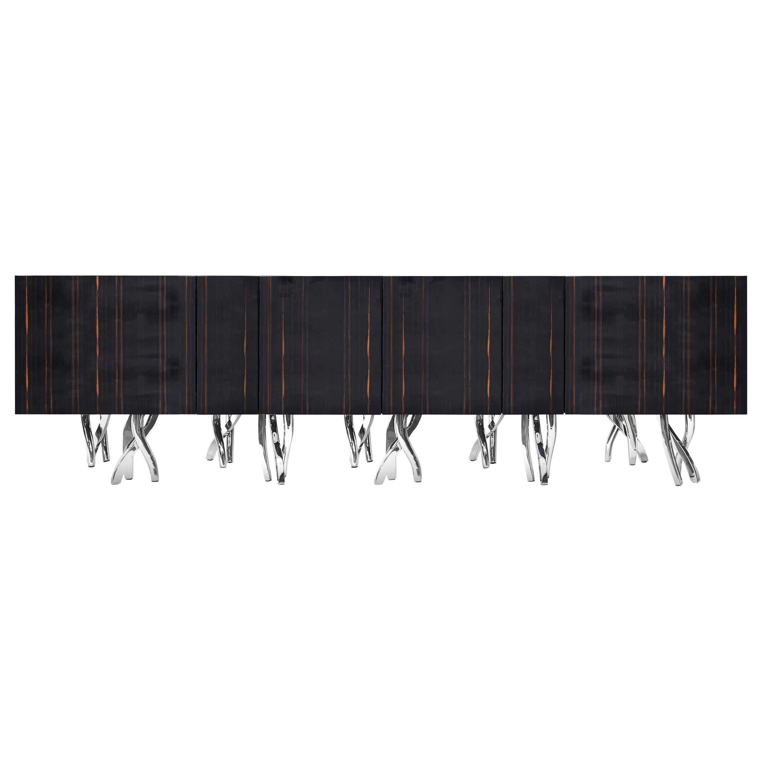 Contemporary Penance Liberty Credenza in Macassar Ebony, High Gloss, Chrome