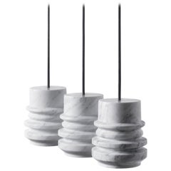 Contemporary Pendant Lamp 'Circle' in White Marble Stone