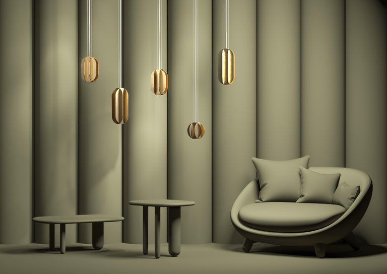 Ukrainian Contemporary Pendant Lamp EL Lamp Large CS1 by NOOM in Brass For Sale