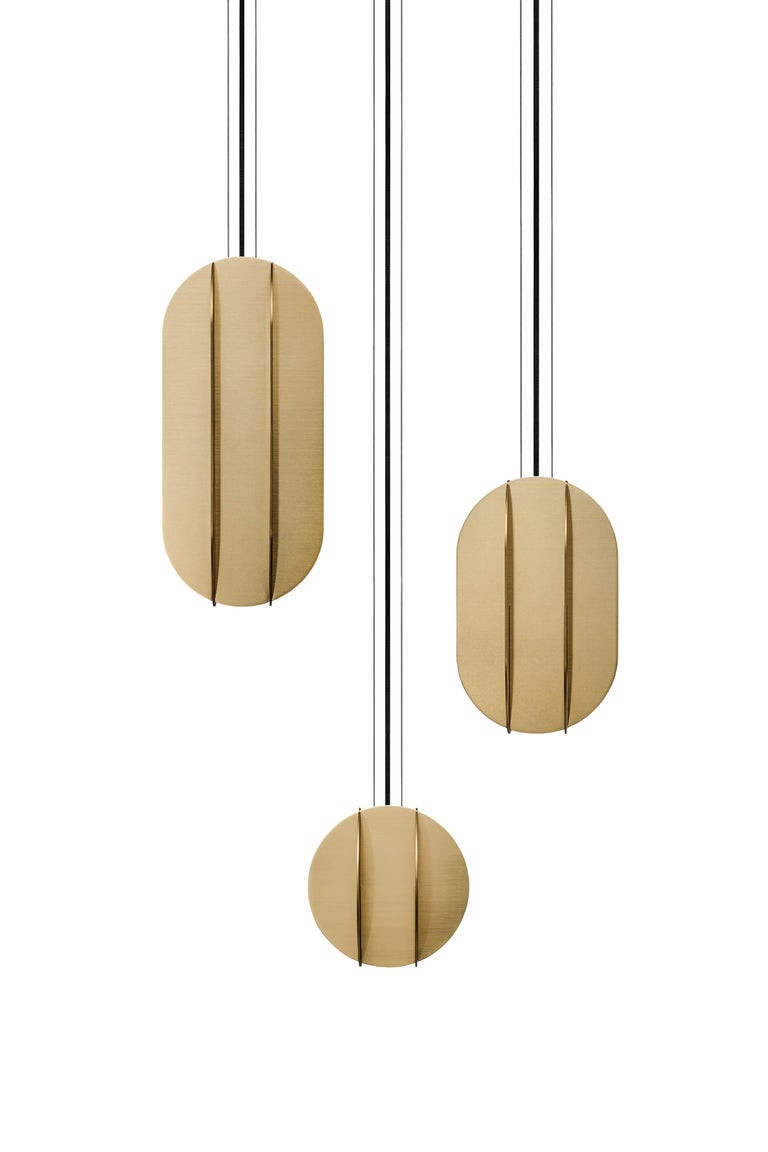 Brushed Contemporary Pendant Lamp EL Lamp Large CS1 by NOOM in Brass For Sale