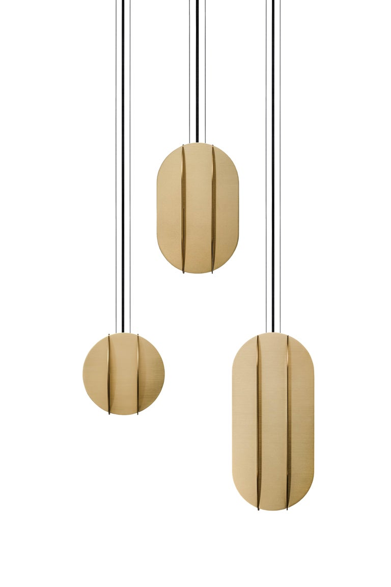 Brushed Contemporary Pendant Lamp EL Lamp medium CS1 by NOOM in Brass For Sale