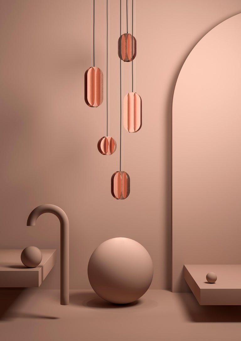 Brushed Contemporary Pendant Lamp EL Lamp medium CS2 by NOOM in Copper For Sale