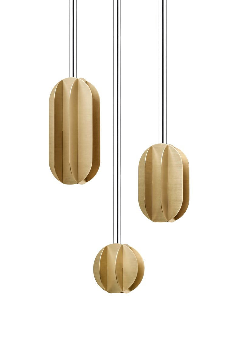 Brushed Contemporary Pendant Lamp EL Lamp small CS1 by NOOM in Brass For Sale