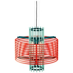 Contemporary Pendant Lamp 'Nova' by AGO 'Coral and Green'