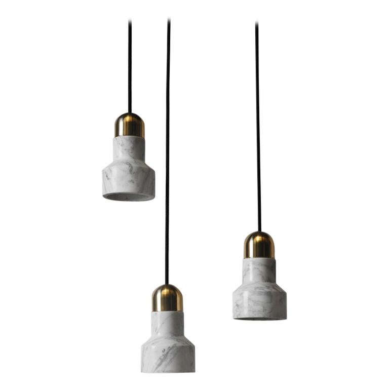 Contemporary Pendant Lamp 'QIE' in White Marble 'Brass Finish'