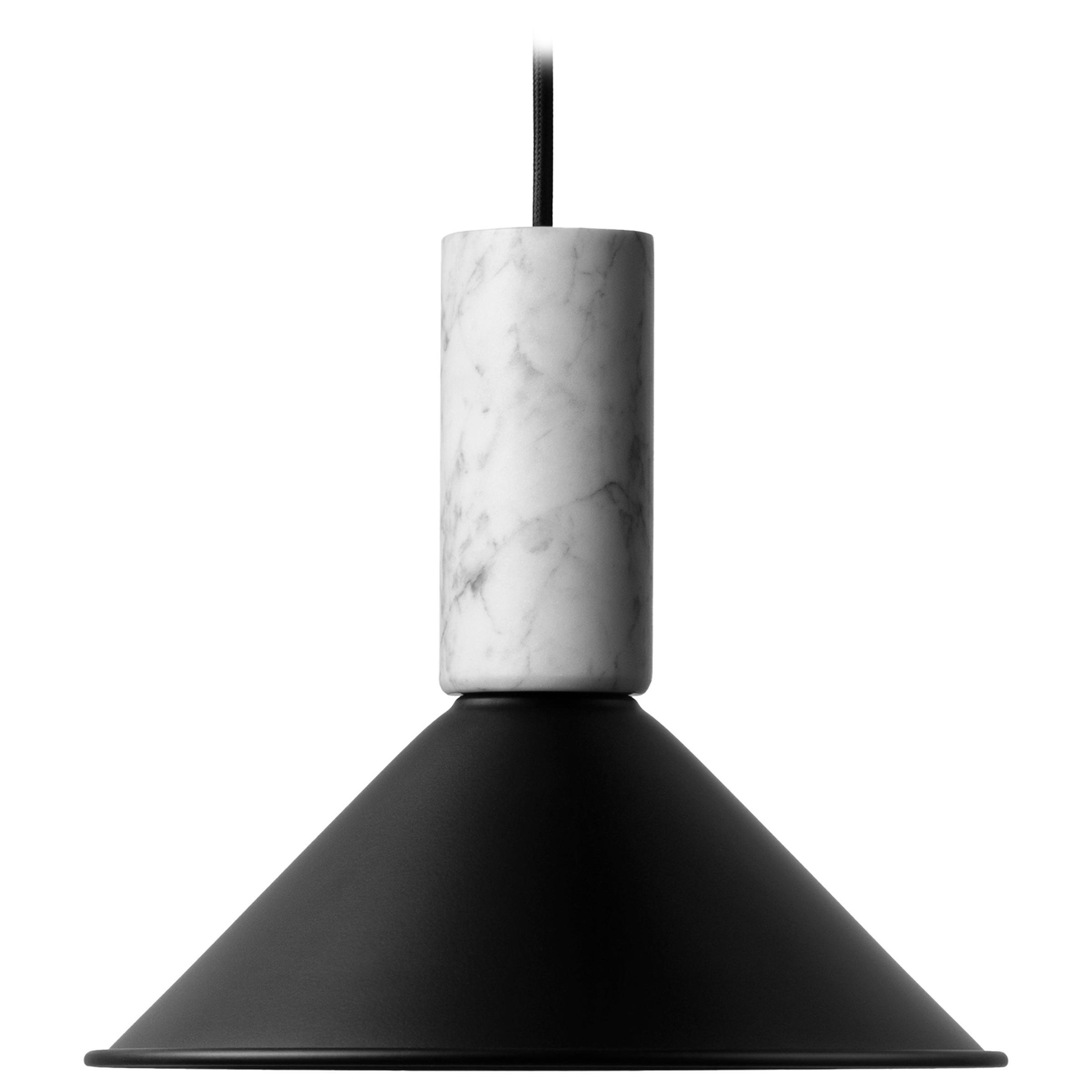 Contemporary Pendant Lamp 'R' in White Marble 'Medium'
