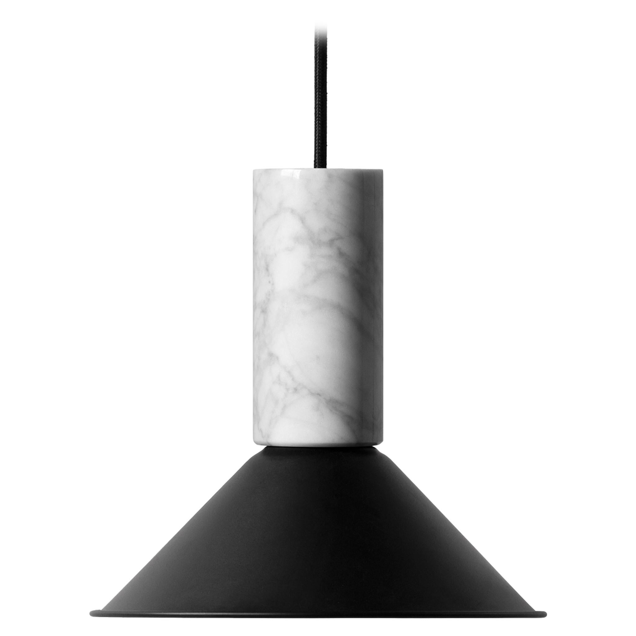 Contemporary Pendant Lamp 'R' in White Marble 'Small'