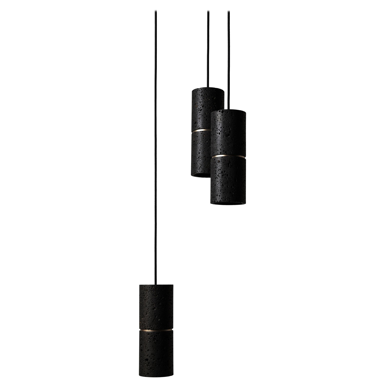 Contemporary Pendant Lamp 'RI' in Black Lava Stone 'Brass Finish'