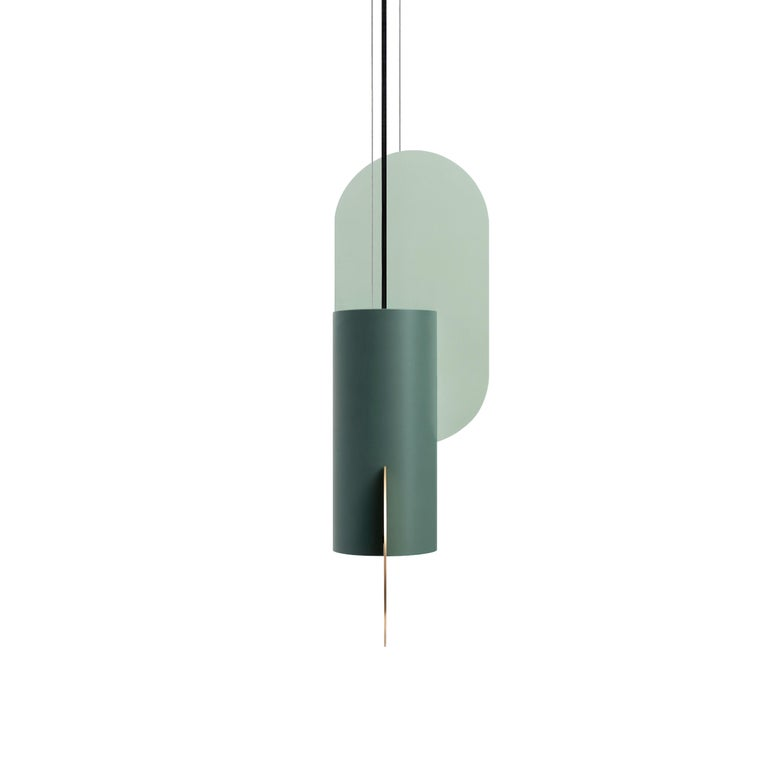 Contemporary Pendant Lamp Suprematic One CS5 by NOOM in Brass and Painted Steel In New Condition For Sale In Kyiv, UA