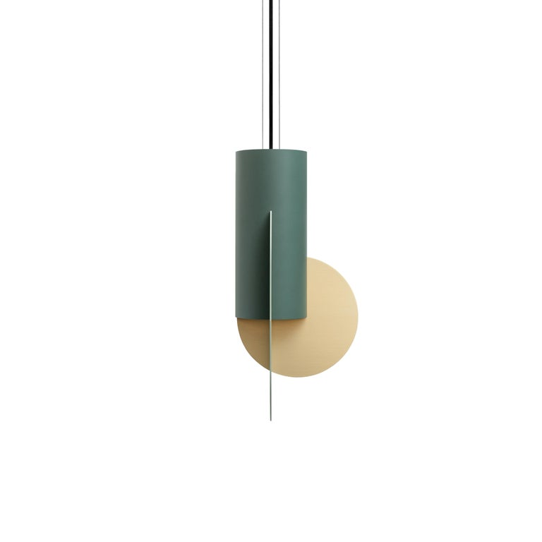 Ukrainian Contemporary Pendant Lamp Suprematic Three CS5 by NOOM in Brass, Painted Steel For Sale