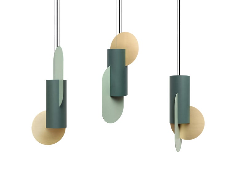 Brushed Contemporary Pendant Lamp Suprematic Three CS5 by NOOM in Brass, Painted Steel For Sale