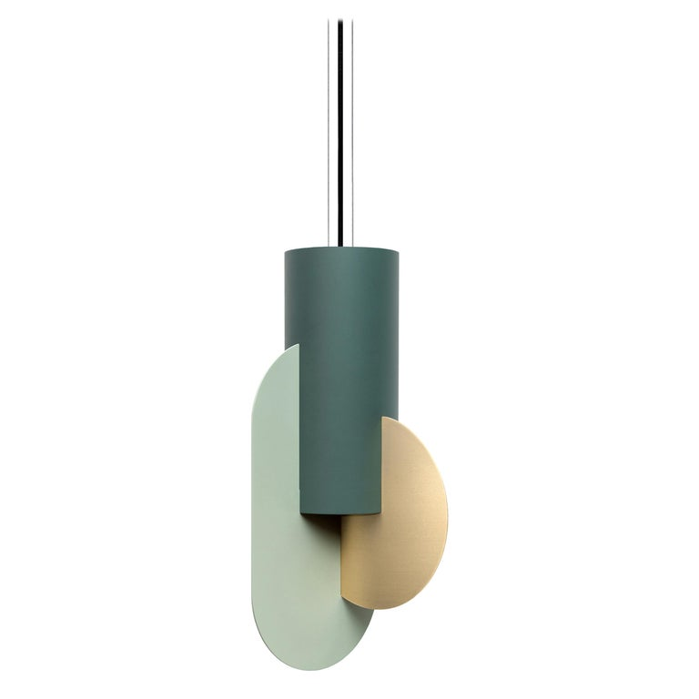 Contemporary Pendant Lamp Suprematic Three CS5 by NOOM in Brass, Painted Steel For Sale