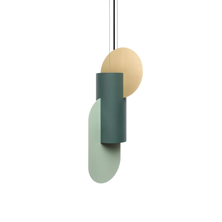 Modern Contemporary Pendant Lamp Suprematic Two CS5 by NOOM in Brass and Painted Steel For Sale