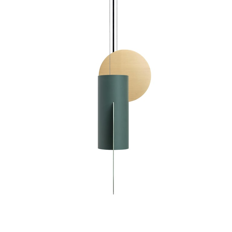 Ukrainian Contemporary Pendant Lamp Suprematic Two CS5 by NOOM in Brass and Painted Steel For Sale