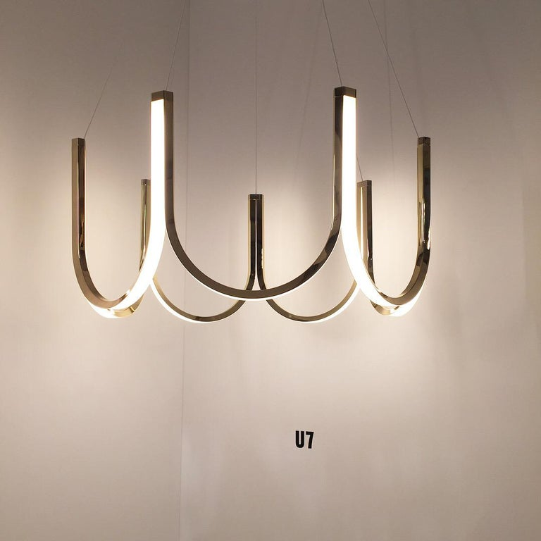 French Contemporary Pendant Lamp 'U7' Brass For Sale