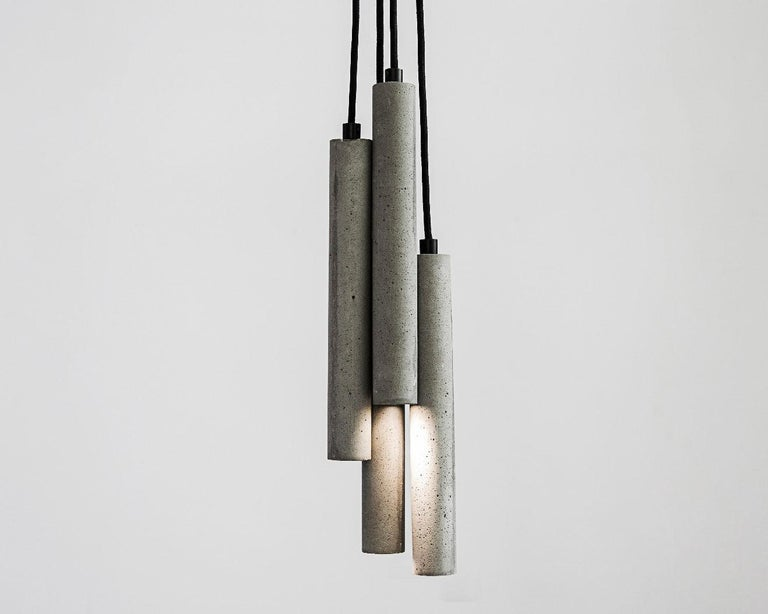 Contemporary Pendant Lamps 'Bang' in Black Lava Stone For Sale 6