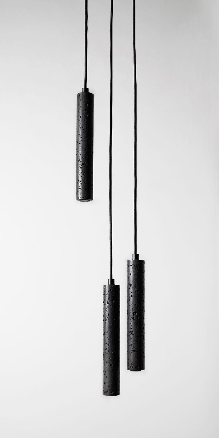 Contemporary Pendant Lamps 'Bang' in Black Lava Stone In New Condition For Sale In Paris, FR