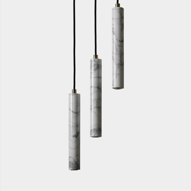 Contemporary Pendant Lamps 'Bang' in Black Lava Stone For Sale 1