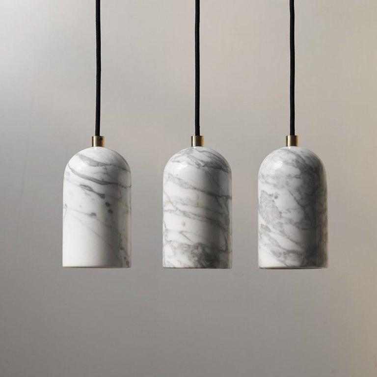 Contemporary Pendant Lamps 'U' in Black Lava Stone In New Condition For Sale In Paris, FR