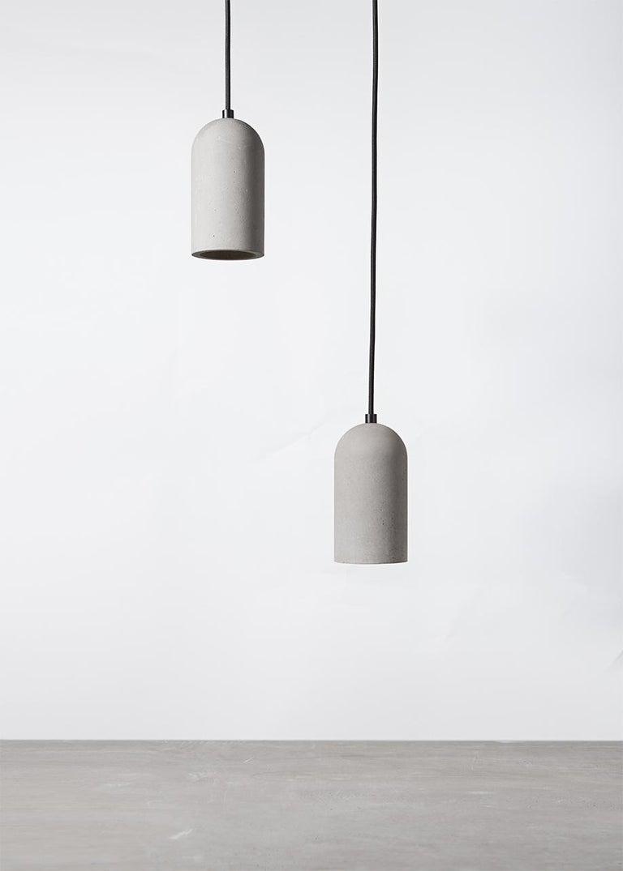 Contemporary Pendant Lamps 'U' in Black Lava Stone For Sale 3