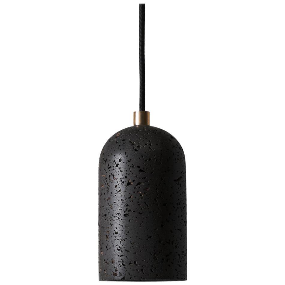 Contemporary Pendant Lamps 'U' in Black Lava Stone