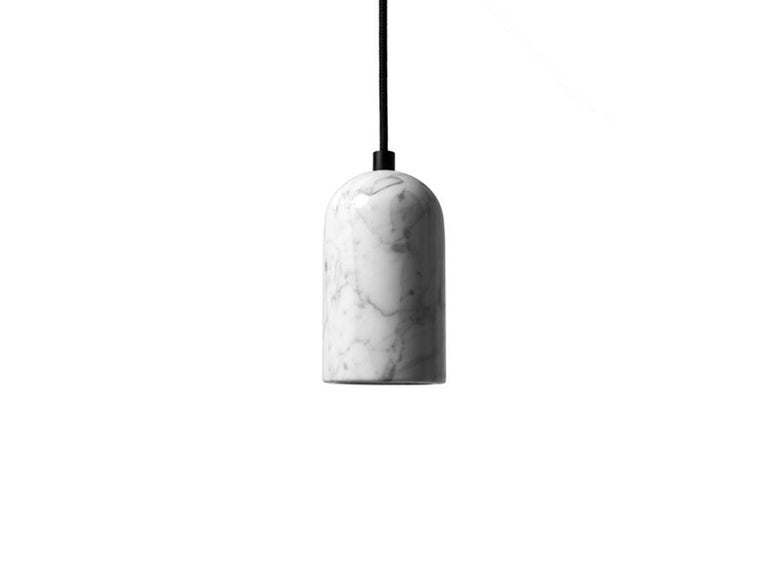Industrial Contemporary pendant lamps 'U' in white marble For Sale