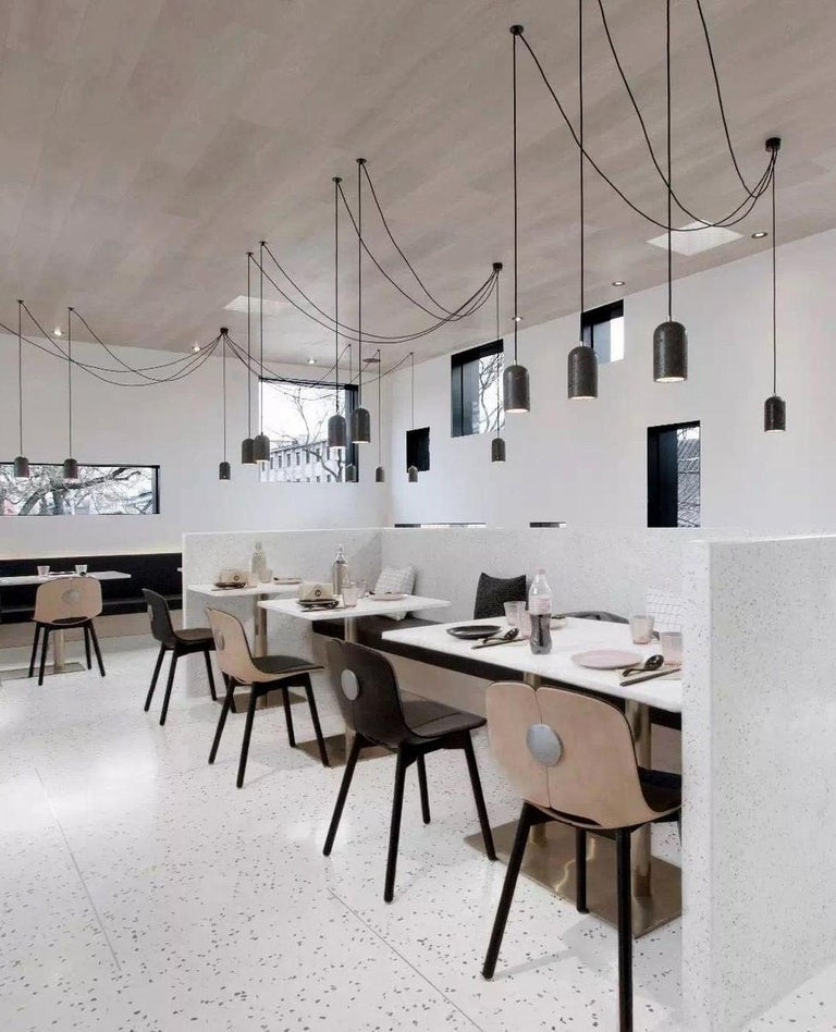 Contemporary pendant lamps 'U' in white marble For Sale 1