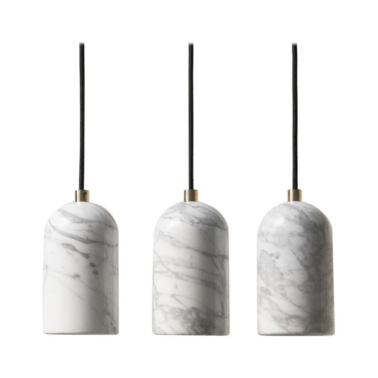 Contemporary pendant lamps 'U' in white marble For Sale