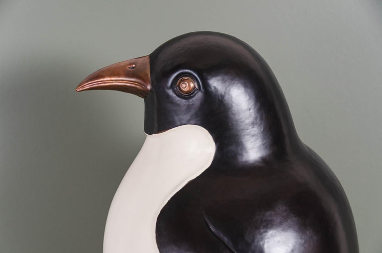 Contemporary Penguin Sculpture in Copper and Cream Lacquer by Robert Kuo In New Condition For Sale In West Hollywood, CA
