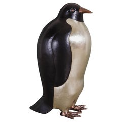 Contemporary Penguin Sculpture in Copper and White Bronze by Robert Kuo