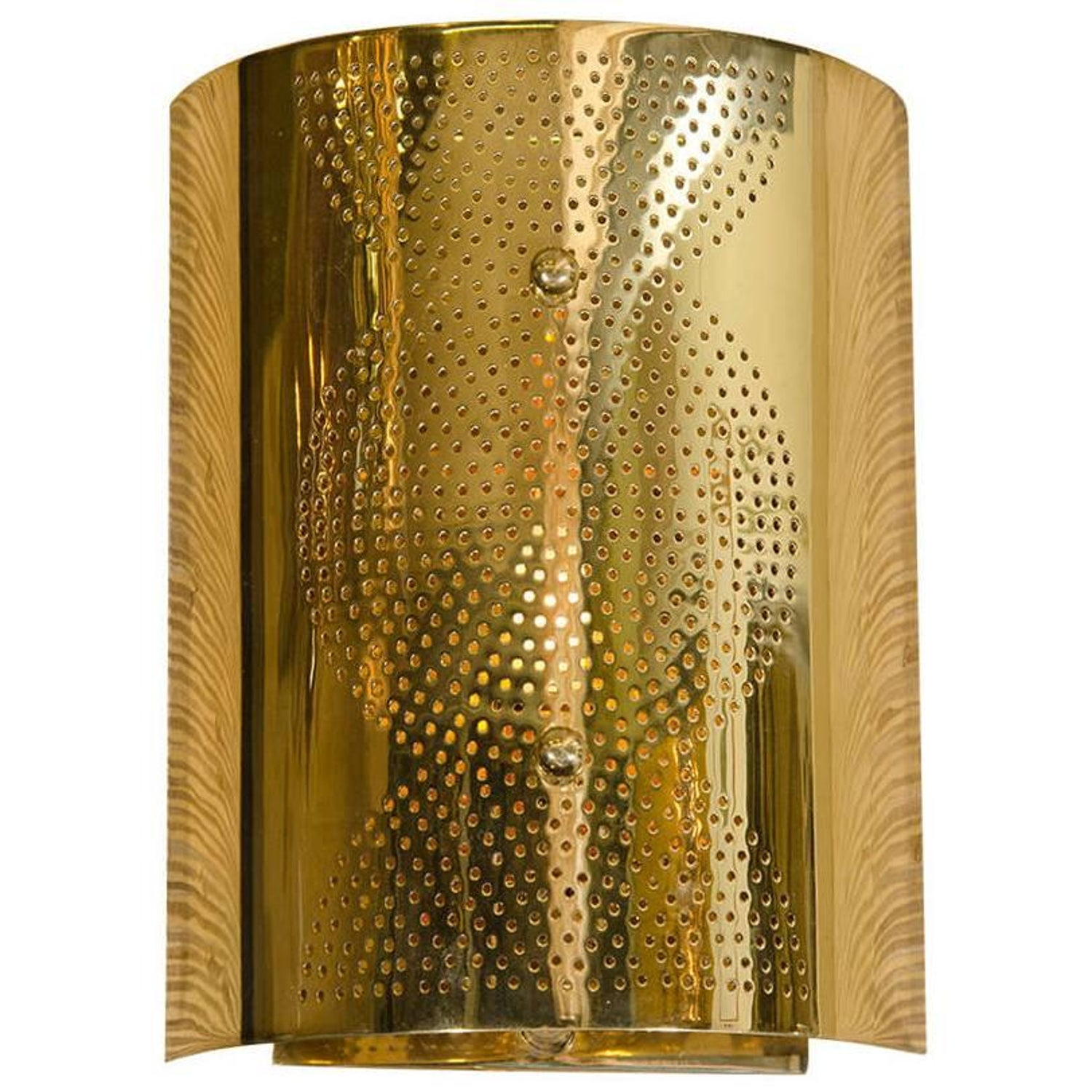 Contemporary Perforated Brass Wall Sconce at 1stdibs