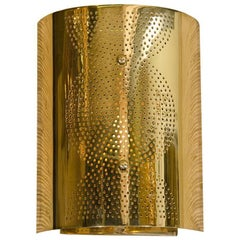 Contemporary Perforated Brass Wall Sconce