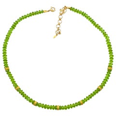 Contemporary Peridot Beads Coomi 20 Karat Yellow Gold Necklace