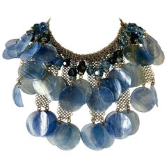 Contemporary Periwinkle Blue and Mesh Haute Couture Statement Necklace