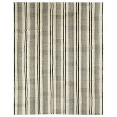 Contemporary Persian Flat-Weave Large Room Size Carpet in Beige Black, and Brown