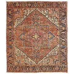 Contemporary Persian Heriz Rug with Diamond Medallion and Floral All-Over Detail