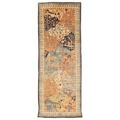 Contemporary Persian Heriz Rug with Gray & Orange Nature Motifs on Ivory Field