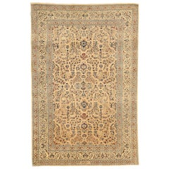 Contemporary Persian Nain Rug with Black, Brown and Gray Floral Details