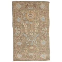 Contemporary Persian Oushak Rug Flower-Patterned in Blue and Brown