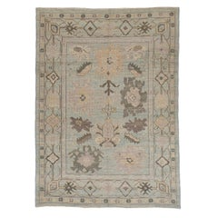 Contemporary Persian Oushak Rug with Mixed Flower and Geometric Patterns