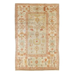 Contemporary Persian Oushak Rug with Red and Gold Botanical Motifs