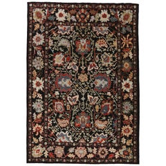 Contemporary Persian Oushak Rug with Vibrant Flower Detailed Field in Black