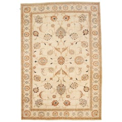 Contemporary Persian Sultanabad Rug with Brown and Gray Floral Motifs