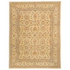 Contemporary Persian Tabriz Rug with Beige & Brown Flower Motifs on Ivory Field