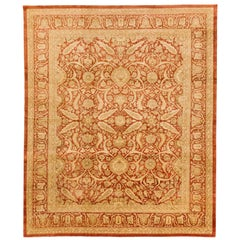 Contemporary Persian Tabriz Rug with Beige and Ivory Flower Motifs on Red Field