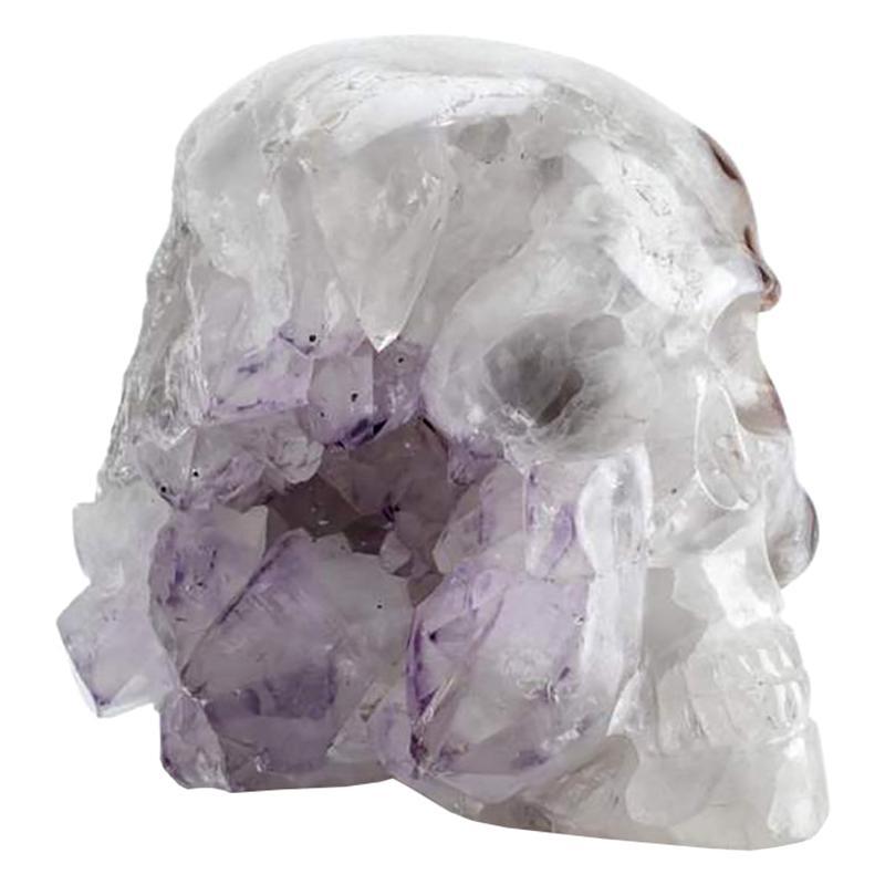 Contemporary Peruvian Quartz and Amethyst Skull Carving Sculpture