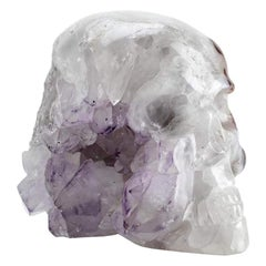 Contemporary Peruvian Quartz and Amethyst Skull Carving Sculpture
