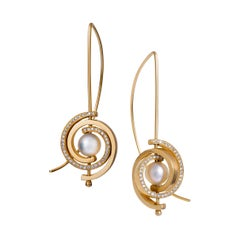 Contemporary Petite Dangle Earrings in 14k Gold with Akoya Pearl and Diamonds