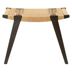 Contemporary Pi Stool, Ebonised Oak Frame, Natural Danish Cord Seat